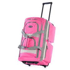"Large Spacious 29"" Duffel School Bag Rolling Wheels Travel Suitcase Pink Tote"