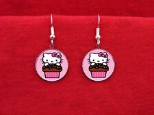HELLO CUPCAKE KITTY BAKER CAKE CAT EARRINGS KAWAII EMO