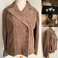 M&S Per Una Brown Beige Jacket Cord Size 18 Pockets Smart Blazer Button Up Coat