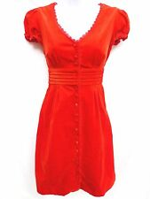 Anthropologie MAEVE Womens Red Orange Corduroy Peasant Victorian Lace Dress 2 XS