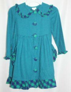 Vintage Kate Greenaway Girls Size 6 Dress Blue Green check Gingham Flannel
