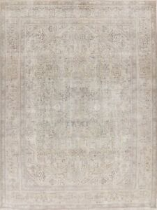 Antique Tebriz Distressed Muted Evenly Low Pile Hand-knotted Wool Area Rug 10x13
