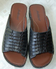 7.5 Audtions Black Sandals, Newman, Leather Woven Upper, Cushioned, Exclnt Cond.