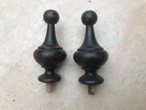 Pair of Vintage Beech Finials