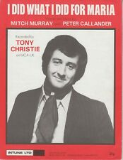 I Did What I Did For Maria - Tony Christie - 1971 Sheet Music