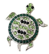 Silver Green Black Rhinestone Turtle 20mm Snap Charm For Ginger Snaps Jewelry