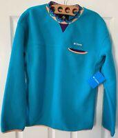 NWT Columbia Mens Wapitoo Fleece Pullover Sweater Blue Size Medium FREE SHIPPING