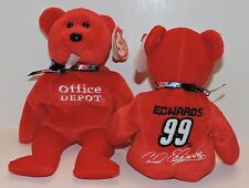 2007 RETIRED TY BEANIE BABIES NASCAR COLLECTION - CARL EDWARDS #99 OFFICE DEPOT