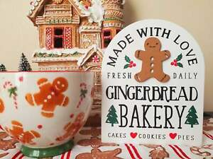 Gingerbread Bakery Wooden Sign Tier Tray Riser Christmas Decor