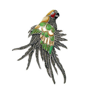 Large 925 Sterling Silver & Marcasite Parrot Bird Brooch Pin with Mixed Stones