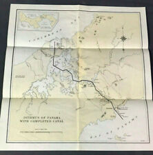 """Antique / Vtg PANAMA CANAL MAP - """" Isthmus of Panama with Completed Canal """""""