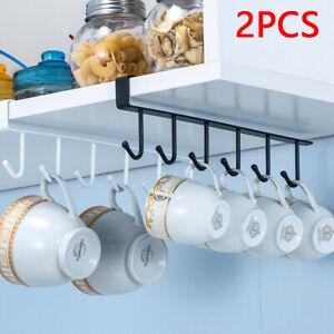2 x Metal Kitchen Under Shelf Cabinet Cupboard Mug Cup Utensils Holder Hook Rack