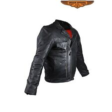 Mens Leather Racing Style Motorcycle Jacket# MJ800-01