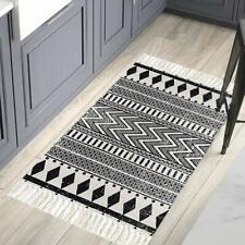 Cotton Tassel Kilim Black Cream Laundry Room Boho Rug Hand Woven Braided Doormat