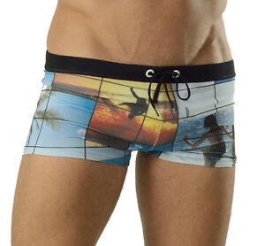 GERONIMO Mens Swimwear Coloured Swim Boxer Trunks Tropical Print Swimming Suit