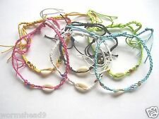 anklet surf Fair Trade choose colour Cowrie shell braided cord adjustable plait