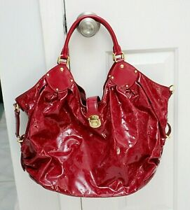 LOUIS VUITTON Surya Mahina Monogram Red Patent Leather Hobo Bag LIMITED EDITION