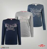 Ladies Lee Cooper Crew Neck Large Logo Long Sleeve T Shirt Sizes from 8 to 16