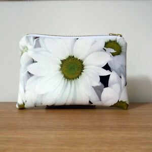 Make Up Bag White Purse Faux Leather  Travel Flat Floral Ladies Handmade Vegan