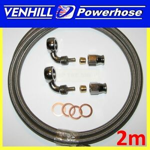 AN-3 universal brake hose 2 x 90 degree chrome banjos & washers 2m long Venhill