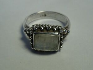 Silver Gemstone Ring Size P+ Free postage
