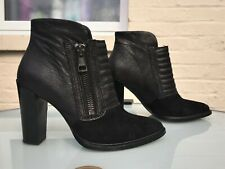AllSaints Black Ankle Boots - Eu 38 / UK 5 - Suede With Distressed Leather - VGC