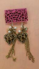 Betsey Johnson Huge Gold Leopard Heart Chandelier Hanging Earrings New