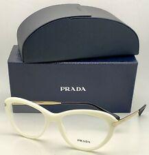 New PRADA Eyeglasses VPR 08R 7S3-1O1 54-17 White Cat-Eye Frames w/ Gold Temples