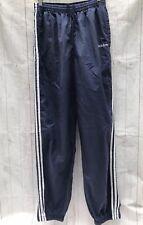 Vintage Adidas Blue Nylon Windbreaker Pants Three Stripe Zip Ankle Sz L