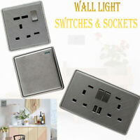 1/2/3 Gang Wall Light Switches & Sockets Textured Chrome Range Screw Less UK