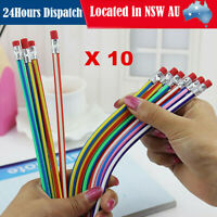 10x Magic Bendy Soft Pencil with Eraser Rubber Kids Toy Gift Student Writing Pen