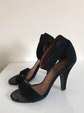 "Jeffrey Campbell ""Hough"" Black Ankle Strap High Heel Sandal Sz 6.5 USED *"