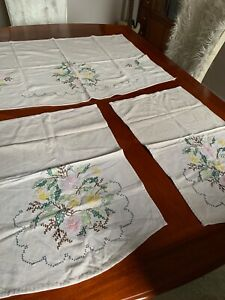 Vintage, Arm chair Arm covers, set of 3, embroidered sofa & 2 chair set,