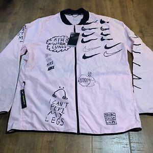 Nike x Nathan Bell Men's Printed Running Jacket AJ7759-663 Size Large Pink NEW