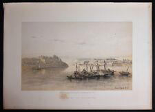 David Roberts Authentic 1856 Quarto Lithograph Pl. 196 Aswan Elephantine Island