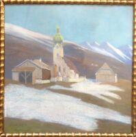 ::FARBKREIDE/PASTELL °ALPEN DORF MIT KAPELLE IM WINTER/VORFRÜHLING° 1913 ANTIK