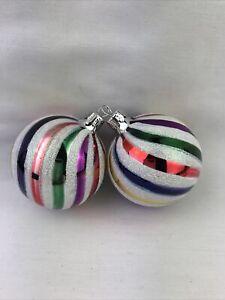 "(2) Striped Swirl Glass Christmas Ornaments 2.5""D"