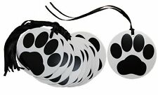 50 x PAW PRINT Gift Tags & Tying Ribbon - Black White Puppy Dog Cat Lover Gifts