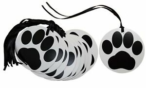 PAW PRINT Animal Gift Tags & Ribbon - Black White Puppy Dog Cat Lover Gifts x 50