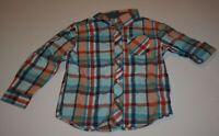 New Gymboree Boys 5 6 Year Plaid Dress Shirt Button Up Cuffs Orange Blue Mint
