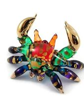 TINY CRYSTAL CRAB HAND BLOWN CLEAR GLASS ART CRAB FIGURINE ANIMAL COLLECTION