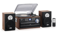 New Jensen 3 Speed Stereo Turntable Music System CD Cassette AM/FM Radio Brown