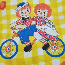 Vintage Raggedy Ann & Andy Twin Flat Top Sheet Yellow checkered fabric
