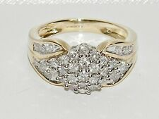 9ct Gold 0.75ct Diamond HEAVY Cluster Ring size O - Solid 9k Gold