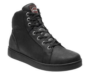Harley-Davidson Mens Watkins Black Leather Boots, Motorcycle Shoes D93517