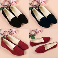 Women's Ballerina Ballet Dolly Pumps Ladies Flat Black Loafers Shoes Size ddvv