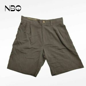 Jamaica Jaxx Mens Chinos Shorts Olive Green Pleated Pockets 100% Silk 32