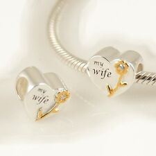 HEART-Love-MY WIFE-Flower-Solid 925 sterling silver charm bead-Gold plated-CZ