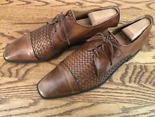 Massimo Matteo made in Italy Mens Brown Italian Oxford Shoes Size 10.5