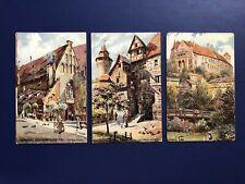 Tuck Views: Oilette Nurnberg #612B. Antique 3 Postcards. Collector Items. Nice